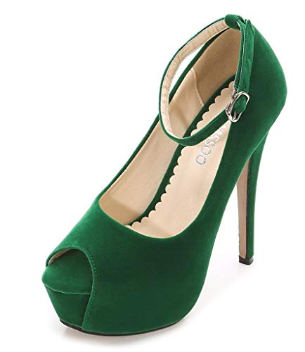 CAMSSOO Women's Peep Toe Heels Platform Ankle Strap Stiletto High Heels Dress Shoes Green Velveteen Size US11 EUR44 - Green Peep Toe Platform