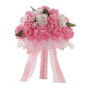 Anferstore Wedding Bouquets, Pearl Silk Roses Bridal Bridesmaid Wedding Hand Bouquet Artificial Fake Flowers for Wedding, Party and Church (Pink) 102