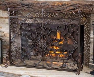 (Large Fireplace Screen Gate Black Brushed Gold Wrought Iron Beauty in Any Season, Maximum Coverage and Protection by HomeTeks)
