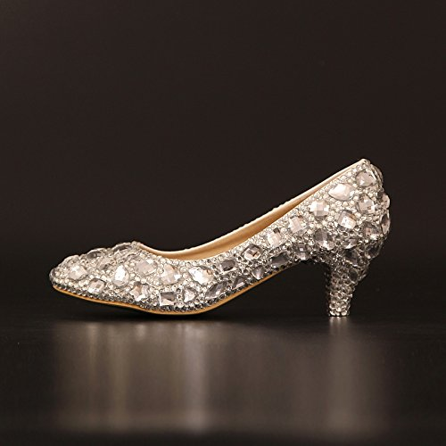 Si Rhinestones amp; Women's Wedding Sandals Princess Shoes Crystal Round heel And Low Stiletto Heel Platform Toe 5cm Bride Waterproof rr0pq4xw
