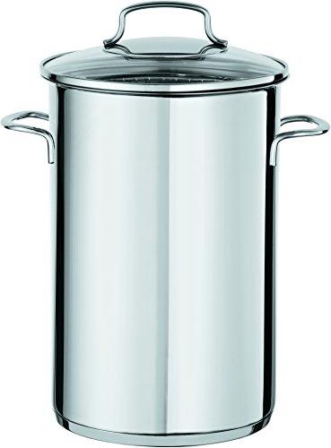 RÖSLE 91865 Spargeltopf 16 cm mit Glasdeckel und Spargeleinsatz / topf, edelstahl, 21,5 x 18 x 27 cm