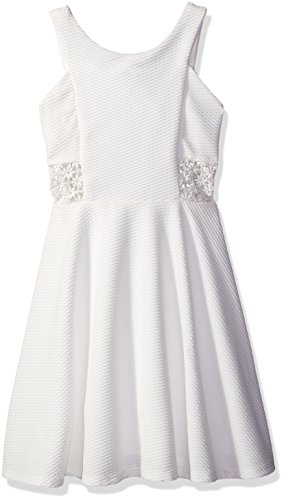 Price comparison product image Tween Diva Big Girls' Textured Knit Dress with Crochet Inserts,  Off White,  8