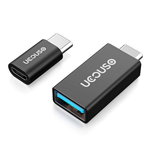 USB C to USB 3.0/USB C to Micro USB Adapter (2-Pack,More Functions)Slim Type C Aluminum Converter for MacBook,Lenovo YOGA900,HUAWEI Matebook HC-W09,HTC 10,LG G5,Lumia950 and More by UCOUSO(Black)