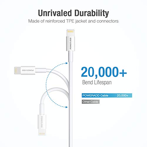 POWERADD Lightning Cable 6.6ft MFI Certified iPhone Charger USB Charging/Sync Lightning Cord 8 Pins Compatible with iPhone SE 11 11 Pro 11 Pro Max Xs MAX XR X 8 7 6S 6 5, iPad and More, Silver White