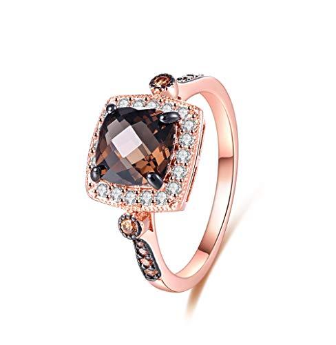 Barzel 18K Rose Gold Plated Created Smoke Topaz & Morganite Ring (8) (Ring Topaz 18k)