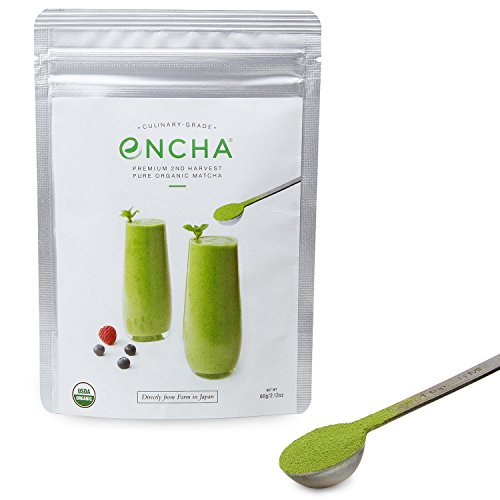 Encha Culinary Grade Organic Matcha Green Tea Powder (USDA Organic Certificate and Antioxidant Content Listed, Premium Second Harvest Directly from Farm in Uji, Japan, 60g/2.12oz Size)