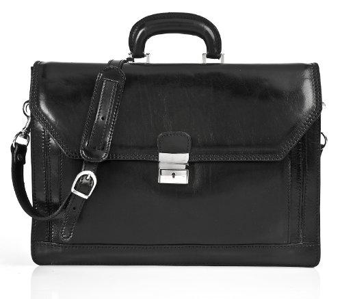 Alberto Bellucci Mens Italian Leather Capri Triple Compartment Laptop Briefcase in - Business Capri