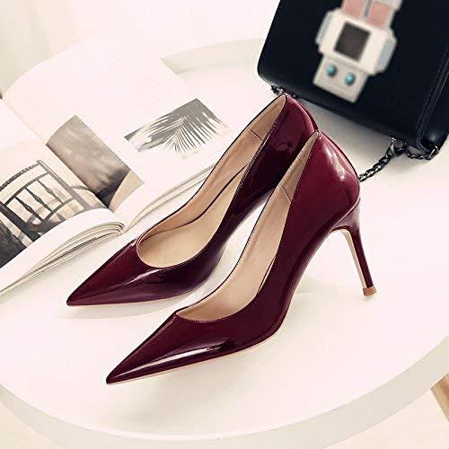 Gericht Schuhe Einzelne Schuhe weibliche frische High Heels Frau zeigte fein mit Brautschuhe Hochzeit Schuhe weiblich (Farbe   EU 40, Größe   Wine rot 6CM)