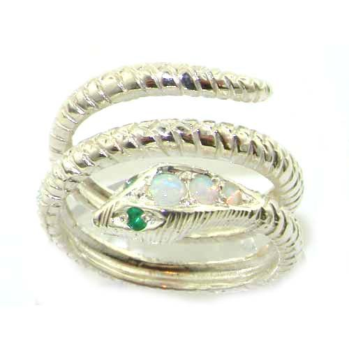 925 Sterling Silver Natural Opal and Emerald Womens Band Ring - Sizes 4 to 12 Available by LetsBuySilver