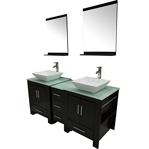Walcut Luxury 60'' Modern Double Ceramic Sink Solid Wood Bathroom Vanity Cabinet With Mirror And Tempered Glass Table Board by WALCUT (Image #1)