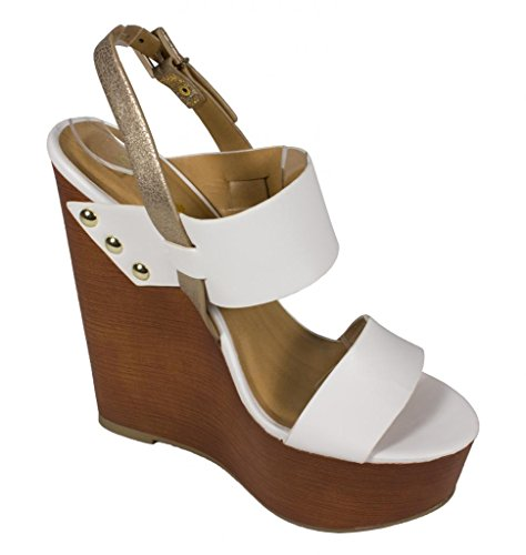 88a93ce188d1 Soda Women s Chef Wide Strap Ankle Strap Faux Wooden Platform Wedge ...