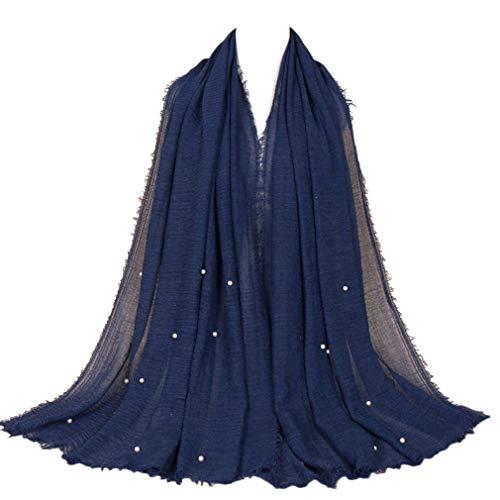 LMVERNA Women wrinke cotton beads scarves fashion long soft scarf (Navy - Beads Scarf