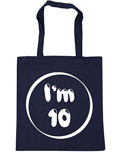 HippoWarehouse I 'm 10bolsa de la compra bolsa de playa 42cm x38cm, 10litros azul marino