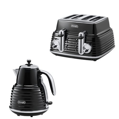 De'Longhi Scultura Kettle Black High Gloss And 4-Slice Toaster Black High Gloss De'Longhi