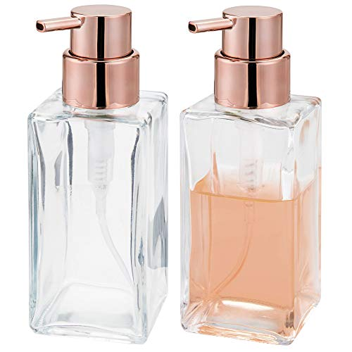 mDesign Square Glass Refillable Liquid Soap or Sanitizer Dispenser Bottle with Rustproof Plastic Pump Head for Bathroom Vanity, Kitchen Sink, Countertops - Holds 14 oz, 2 Pack - Clear/Rose Gold