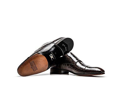 DIS DAnnunzio - Doppia Fibbia Uomo Pelle Coccodrillo Testa Moro La tua scarpa doppia fibbia da uomo in pelle coccodrillo testa di moro, 100% made in Italy e personalizzabile
