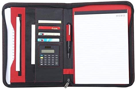 BLACK-A42 Leathario File Folder Padfolio Writing Pad Business Presentation Folder Portfolio