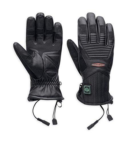 Harley-Davidson Mens Heated Plug In 12V Black Leather Full Finger (3X)