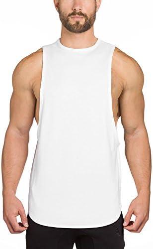 (イーユートレーニングタンクトップ 袖なし ジム用 シャツ スポーツ T-シャツ ホワイト M