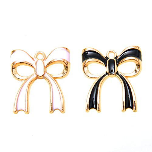 Monrocco 40Pcs Enamel Bow Charms Bowknot Alloy Enamel Charms Pendants 20x18mm Bowknot Gold Plated Charms for Jewelry Making (Pink,Black)