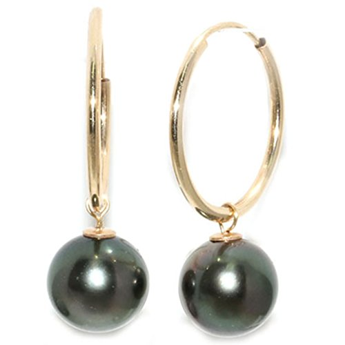 Tahitian Pearl Earrings Hoop Collection 9mm AAA Quality 14kt Gold (Yellow-gold) (Mikimoto Tahitian Pearls)