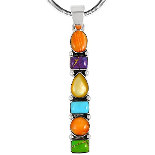 Turquoise & Gemstones Pendant Necklace in Sterling Silver 925 (SELECT Style) (Geometric Dangle C72) (Multi Stone Chain Necklace)