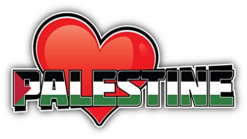 KW Vinyl Magnet Palestine Art Heart Flag Travel Slogan Truck Car Magnet Bumper Sticker Magnetic 5""