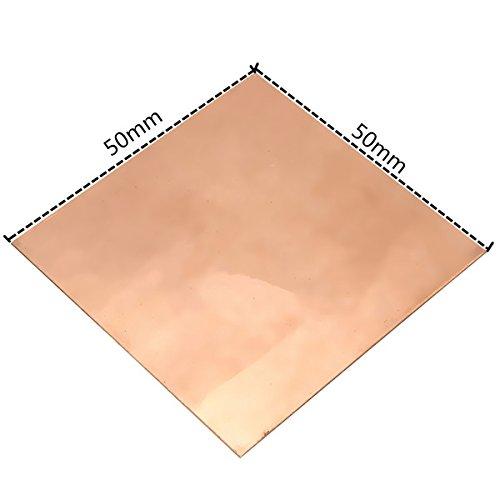 RanDal Placa De Chapa De Cobre De 0,5 Mm X 50 Mm X 50 Mm