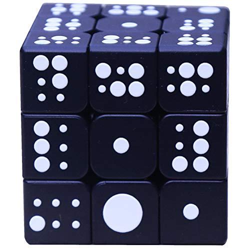 Xinjiahe Embossed Cube Third-Order Blind Braille Fingerprint Stereo Cube 3D Embossed Personality Children Adult Educational Toys Brain Training Game,Black