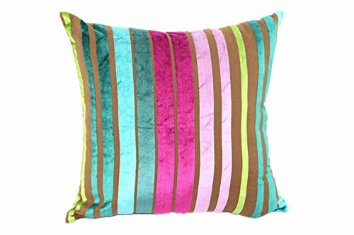 - Striped Cushion Cover Decorative Pillow Cotton/Rayon Yarn Dyed Stripe Plain Velvet Cushion Cover