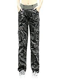 Women's Cotton Casual Elastic Waist Sweatpants Loose Camouflage Multi Pockets Cargo Pants