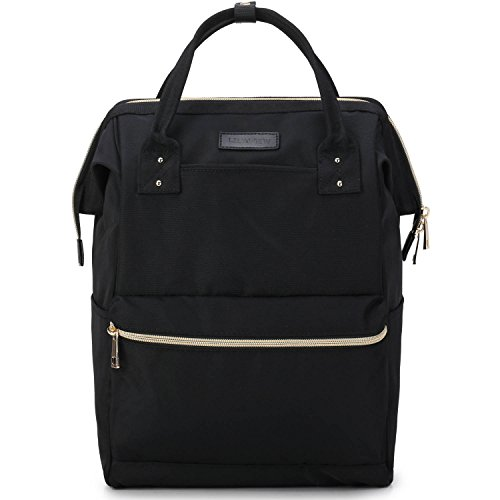Lily & Drew Casual Travel Daypack School Backpack for Men Women and 14 Inch Laptop Computer, with Wide Doctor Style Top Opening (V4 Black Medium)
