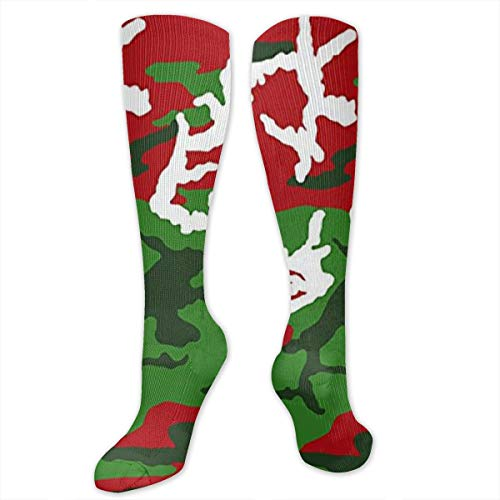 XiaoShuia Christmas Woodland Camo Compression Socks for Women & Men-Over The Knee Socks Best for Running, Athletic, Medical, Pregnancy and Travel