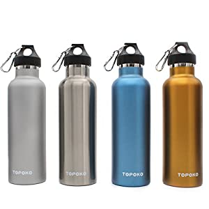 Topoko Top Quality Colored Non-Rusty Stainless Steel Vacuum Water Bottle Double Wall Insulated Thermos, Sports Hike Travel, Leak Proof Bottle, BPA Free, 25 oz, Blue