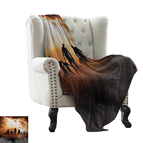 Anyangeight Halloween,Digital Printing Blanket,Zombies Dead Men Walking Body in The Doom Mist at Night Sky Haunted Theme Print 70