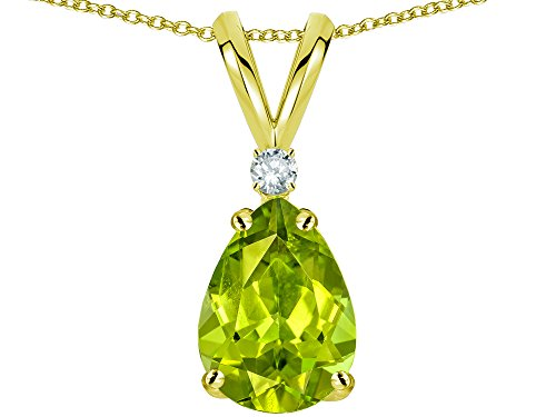 Star K Pear Shape 8x6 mm Genuine Peridot Rabbit Ear Pendant Necklace 14 kt Yellow Gold (Peridot Star Pendant)