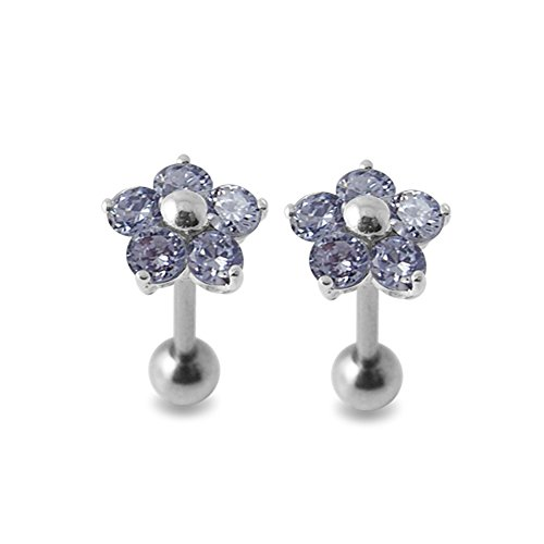 Lavender Gems Stone Fancy Flowers 925 Sterling Silver Ear Piercing jewelry with 16Gx5/16(1.2x8MM) 316L Surgical Steel Barbell and 4MM Ball. Sold by Pair by Silver Jewelry