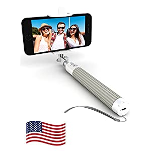 Premium 5-in-1 Bluetooth Selfie Stick (Powered by USA Technology) For iPhone X, 8, 7, 6 & 5, Samsung Galaxy S8, S7, S6, S5 - Takes Perfect Selfies, HD Photos & Videos