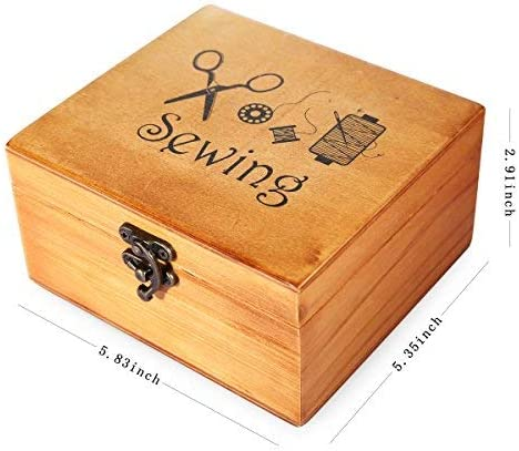 Sewing Box with Sewing Kit Accessories for Home Repair Tool Set for Beginners//Women//Men//Girls//Kids Sewing Kit Wooden Sewing Basket with Accessories