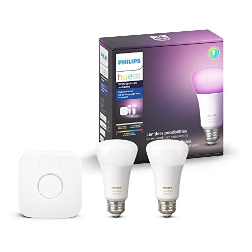 1 Two Bulb (Philips Hue White and Color Ambiance A19 60W Equivalent LED Smart Light Bulb Starter Kit, 2 A19 Bulbs and 1 Bridge, Works with Alexa, Apple HomeKit and Google Assistant)