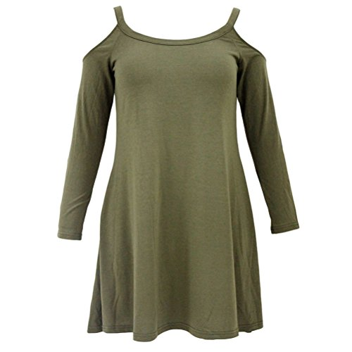 YFFaye Women's Army Green Sexy Cute Cold Shoulder Flared Cotton Dress (Abba Fancy Dress Outfits)