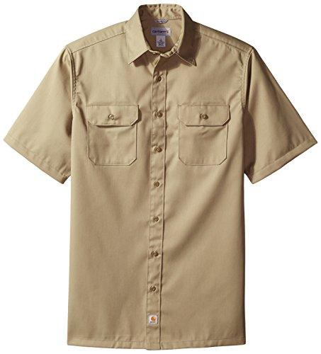 Carhartt Men's Big & Tall Twill Short Sleeve Work Shirt Button Front,Khaki,Large/Tall