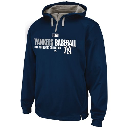 New York Yankees Team Favorite Navy Blue 1/4 Zip Authentic Hooded Sweatshirt Hoody