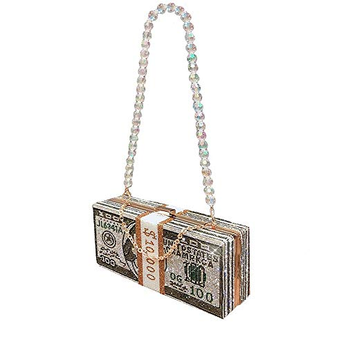 Luxury Women Crystal Money USD Bags Diamond Evening Bag Party Purse Clutch Bags Wedding Dinner Purses Handbags Dollar…