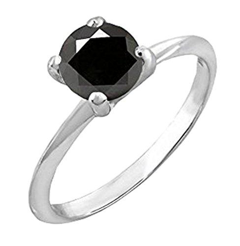 Dazzlingrock Collection 0.25 Carat (ctw) 10K Black Diamond Bridal Engagement Solitaire Ring 1/4 CT, White Gold, Size ()