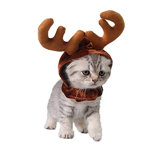 Kalolary Cat Hat Pet Headdress, Holiday Antler Headband Pet Dog Cat Puppy Santa Hat Costume Coffee for Christmas, Festival, Cosplay -