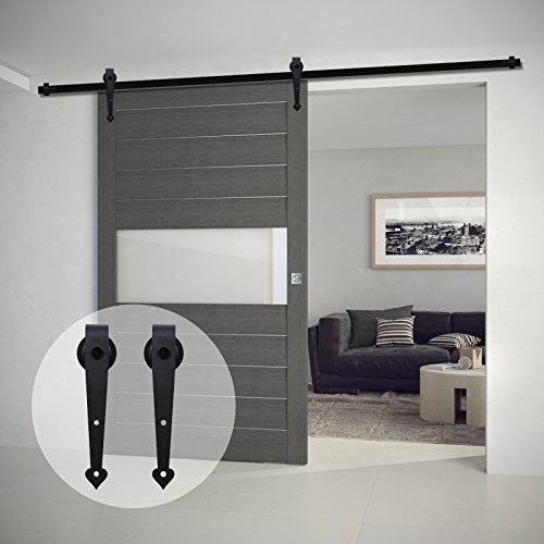 7.5' Heart (CCJH 7.5-Feet Heart Style Country Steel Sliding Barn Interior Door Hardware - Black for Single Door)