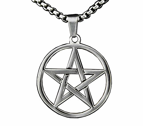 Men Pagan Wicca Inverted Star Pentagram Stainless Steel Pendant Necklace Chain