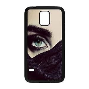 Naza Eye Samsung Galaxy S5 Case Hide Green Eyes Hardshell for Girls, Cell Phone Case for Samsung Galaxy S5 Mini Hardshell for Girls [Black]