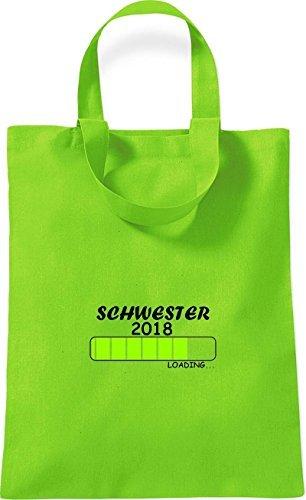 ShirtInStyle kleine Bolsa de algodón SCHWESTER 2018 Cargando Nacimiento Regalo - Rojo, 26 cm x 32,5 cm Lima
